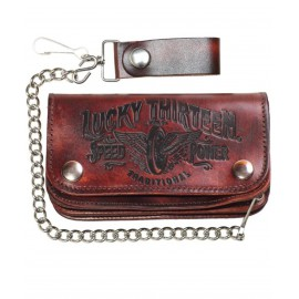 CARTERA LUCKY 13 TRADITIONAL LEATHER EMBOSSED CHAIN WALLET