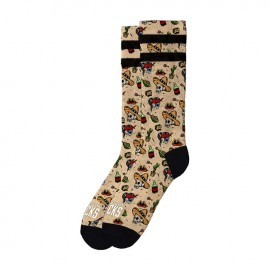 CALCETINES AMERICAN SOCKS SIGNATURE SKATER TORTILLA, DOUBLE BLACK STRIP