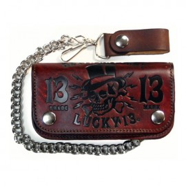 """CARTERA LUCKY 13 DEATH GLORY VINTAGE 6"""" WALLET ANTIQUE BROWN"""