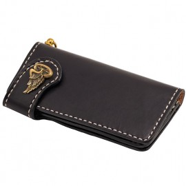 CARTERA 70S LONG FLAT NEGRA