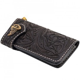 CARTERA 70S LONG ENGRAVED NEGRA
