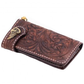 70S WALLET LONG ENGRAVED BROWN