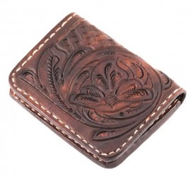 CARTERA 70S MARRON ENGRAVED POCKET CREDIT CARD HOLDER