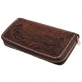 70S WALLET LONG ENGRAVED BROWN WOMAN