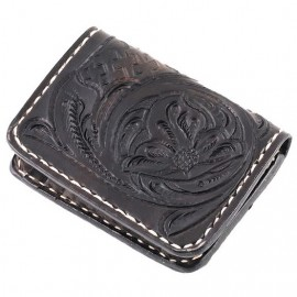 CARTERA 70S NEGRA ENGRAVED POCKET CREDIT CARD HOLDER