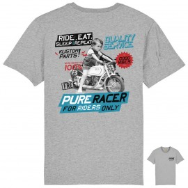 RIDE AND REPEAT GREY T-SHIRT