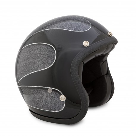 Casco Jet Seventies Superflake Black Scallops TALLA S1