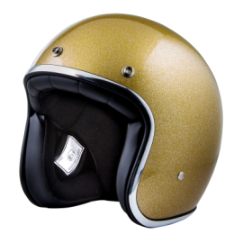 casco Stormer pearl metalflake gold brillo